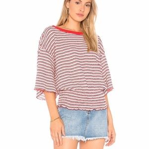 FREE PEOPLE We The Free Red Bell Sleeve Top XS EUC